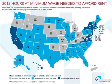 average rent in america 1 map shows how many hours you need to work minimum wage