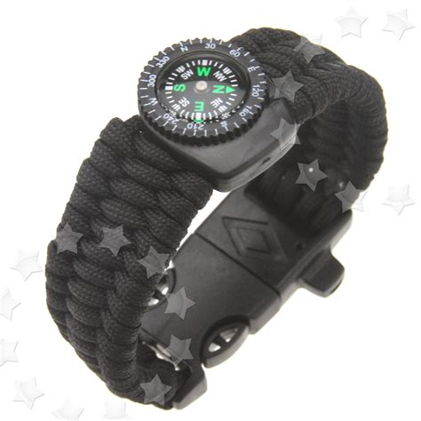 Survival Camping Parachute Cord Bracelet Nylon With Compass & Whistle Buckle   eBay