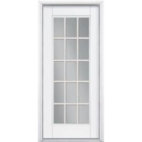 15 Glass Panel Interior Doors Masonite 36 In X 80 In White 15 Lite Primed Steel Prehung Front Door With Brickmold 683390
