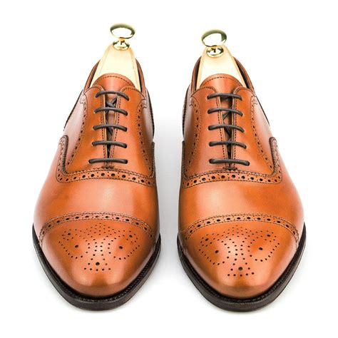 Brogue Oxfords semi brogue tanned oxford shoes carmina