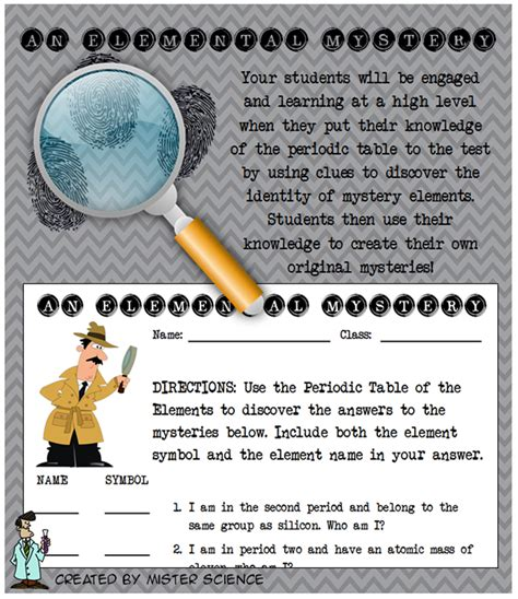 periodic table activities high elemental mystery activity element periodic table atom