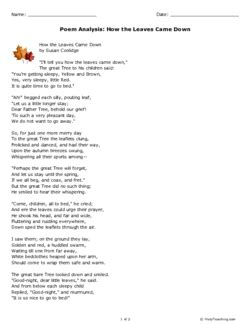 Poem Analysis: How the Leaves Came Down (Grade 3) - Free