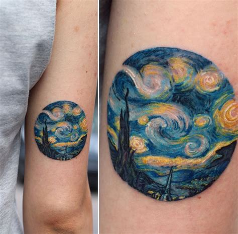 impressionist tattoo the starry painting best design ideas