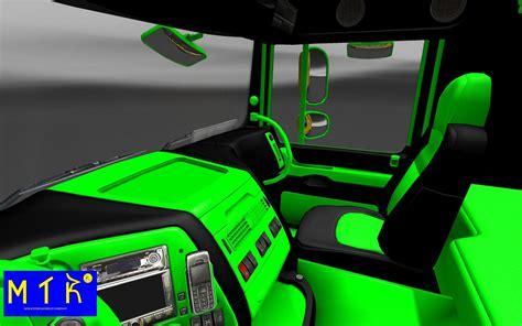 interior green interior daf xf black green mod truck simulator 2 mods