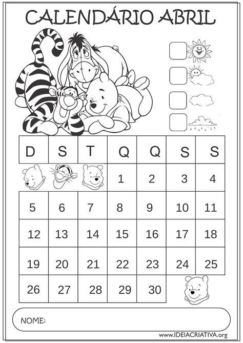 Calendario De Abril 2015 Calend 225 Rios Abril 2015 Turma Do Ursinho Pooh Para Colorir