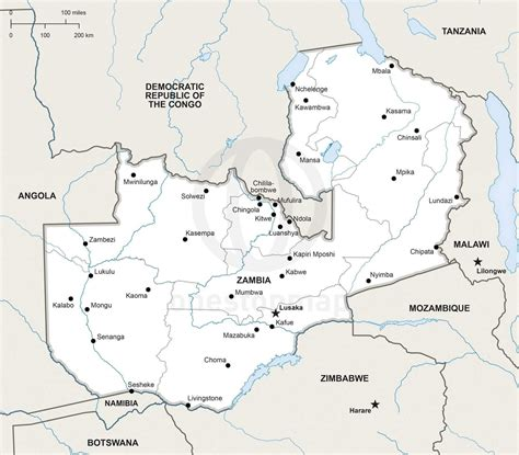 vector map  zambia political  stop map