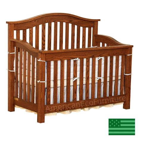 American Crib by Amish 4 In 1 Convertible Baby Crib Solid Wood Made