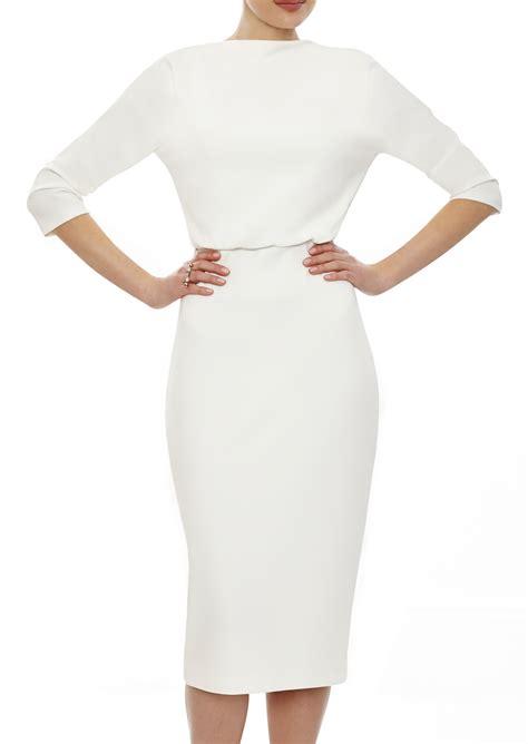 Lauren Dress in Ivory White   Ivory White Pencil Skirt