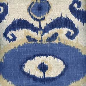 Ikat Drapery Fabric Egeo Indigo Blue Natural Ikat Cotton Drapery Fabric