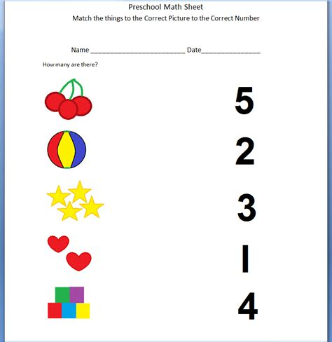 Math Worksheets For Preschoolers by Preschool Math Printable Working With Numbers 1 5