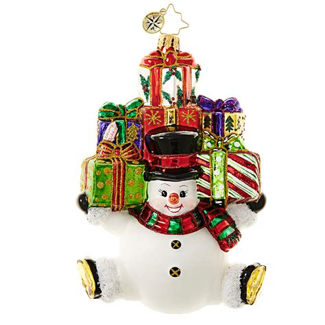 present ornaments christopher radko snow stacked gifts snowman with presents