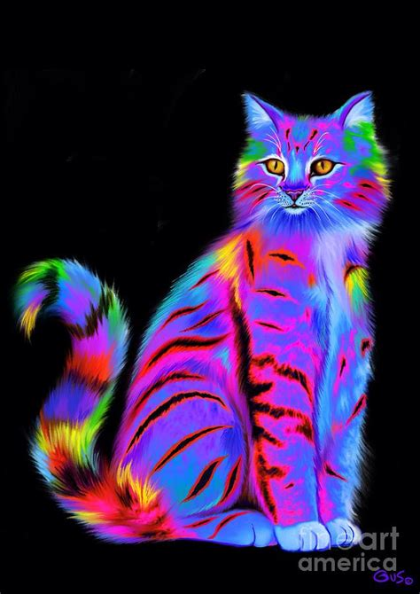 Duvet Patterns Colorful Fluffy Striped Cat Painting By Nick Gustafson