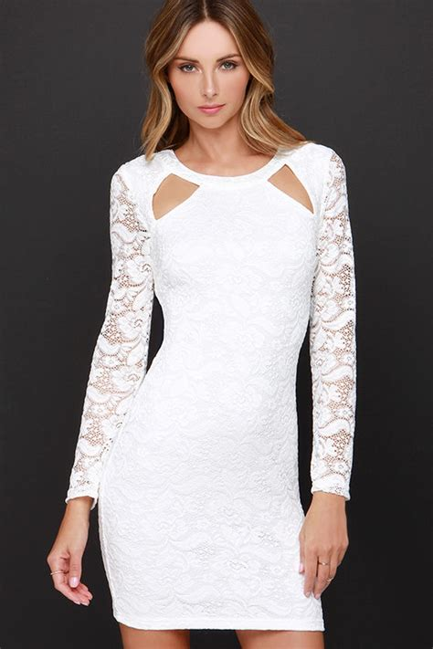 White Lace Sleeved Dress chic white dress sleeve dress lace dress 37 00