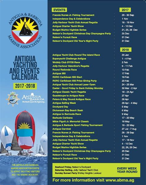 Antigua And Barbuda Calend 2018 The New 2017 2018 Abma Calendar Antigua Barbuda Marine