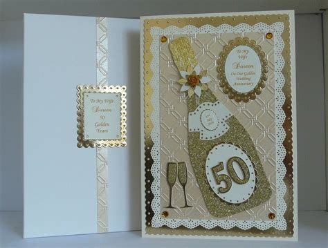 Golden 50th Wedding Anniversary Card Box Wife/Husband