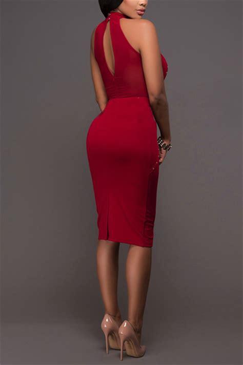 trendy s sleeveless color knee length dress trendy mandarin collar sleeveless rhinestone decorative