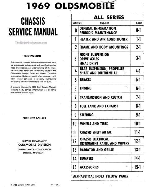 service and repair manuals 1993 oldsmobile 98 engine control 1969 oldsmobile factory shop manual cutlass 442 f85 delta 88