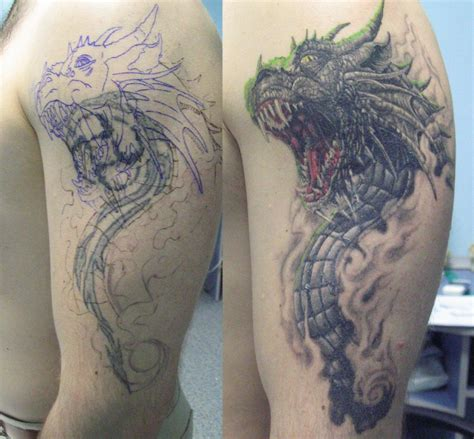 Tattoo Black And Grey Dragon | 63 black and grey awesome shoulder tattoos