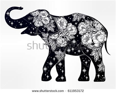 elephant black and white clipart silhouette flowers collection