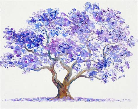 Thick Textured Paint - jacaranda tree painting by jan matson