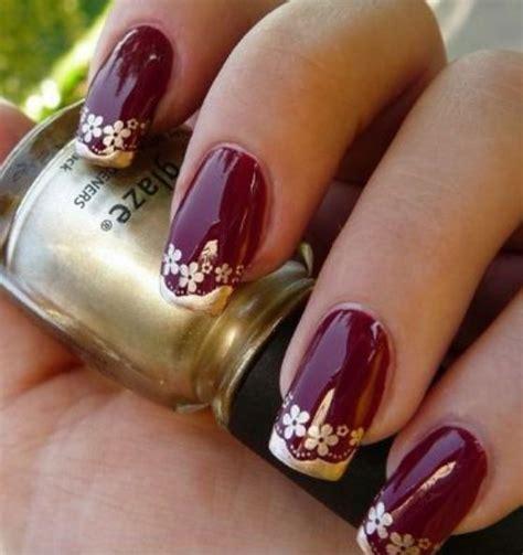 imagenes de uñas pintadas de vinotinto u 241 as color vino con dorado u 241 as lindas pinterest