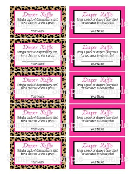 diaper raffle tickets free printable template new