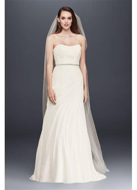 chiffon draping wedding chiffon wedding dress with asymmetrical draping davids