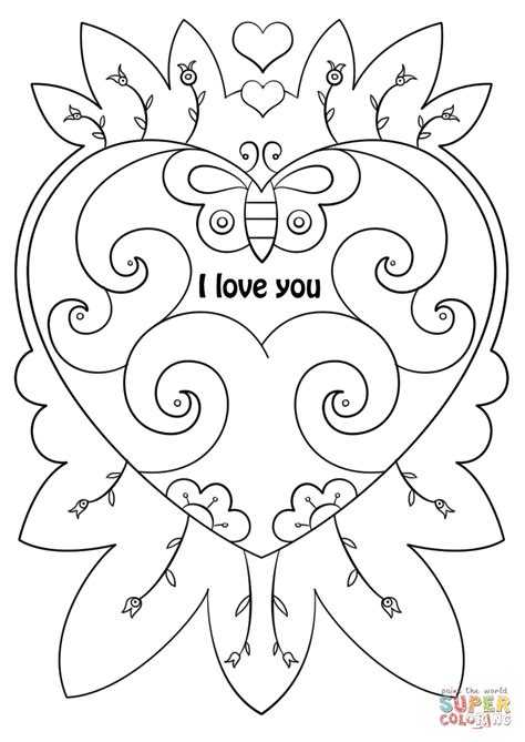 i you coloring pages s day card quot i you quot coloring page free