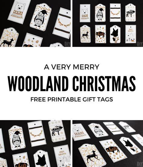 printable animal gift tags woodland christmas printable gift tags black and gold