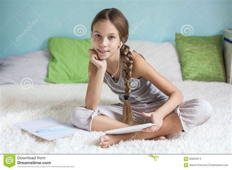 teen girls in bed pre teen girl relaxing at home stock photo image 60934674