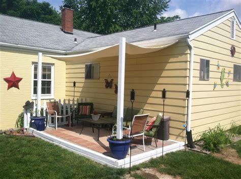 Build Patio Canopy Diy Shade Canopy Using Planters Fence Posts Buckets