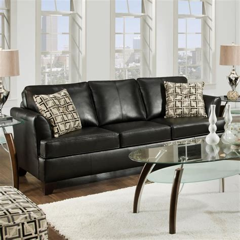 simmons onyx leather sofa with accent pillows