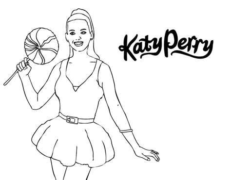 Katy Perry With Lollipop Coloring Page Coloringcrew Com Katy Perry Coloring Page