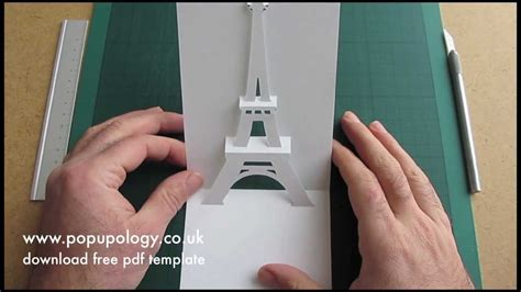 eiffel tower pop up card template pdf pop up eiffel tower card tutorial origamic architecture