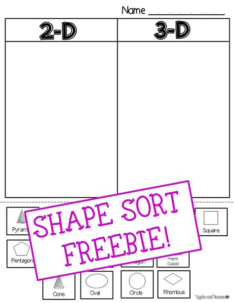 3d shape sorting worksheet freebie 2 d 3 d shape sort includes 15 different shapes to sort sorting cards can be cut