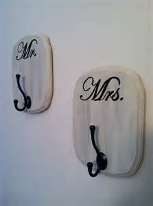 shabby chic mr and mrs bath signs hooks set of 2