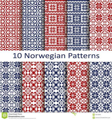 norwegian pattern vector set of ten norwegian patterns stock vector illustration