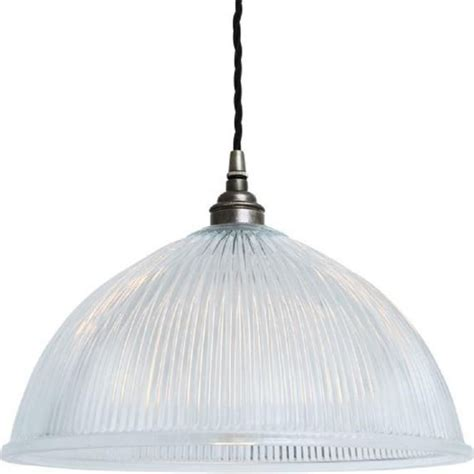 Ribbed Prismatic Glass Dome Ceiling Pendant On Antique Glass Pendant Light Fitting