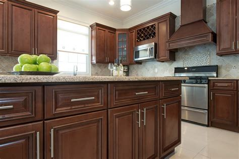 Kitchen With Glass Tile Backsplash by Signature Chocolate Ready To Assemble Kitchen Cabinets