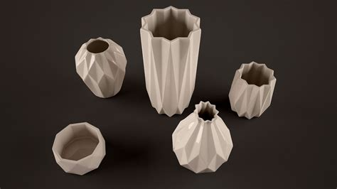 Origami Vase - origami vases 3d model max obj fbx cgtrader
