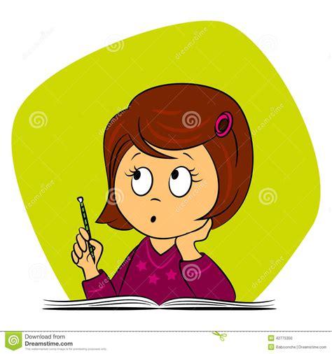clipart bambini a scuola bambini a scuola la ragazza sta pensando illustrazione
