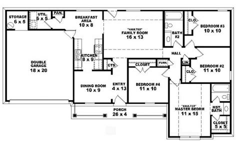1400 Sq Ft House Plans by 4 Bedroom One Story Ranch House Plans Inside 4 Bedroom 2