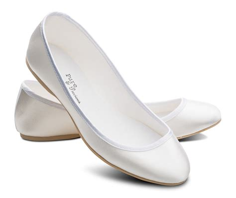 White Wedding Flats by White Bridesmaids Flower Wedding Bridal Pumps Flats