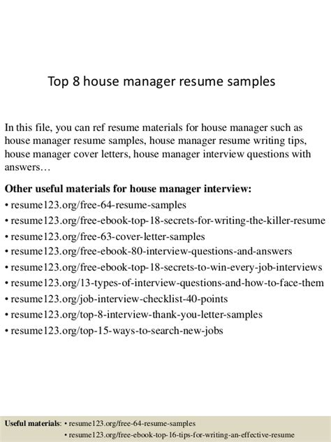 top 8 house manager resume sles