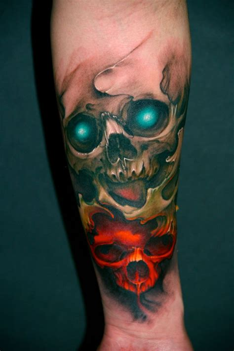 colored skull tattoo designs color skull tattoos designs www pixshark images