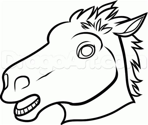 horse mask coloring page how to draw the horse mask step by step characters pop