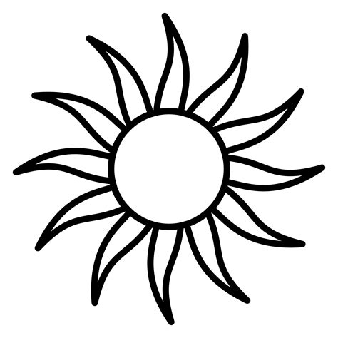 Sun Black Outline by Clipart Sun Outline With 12 Beams