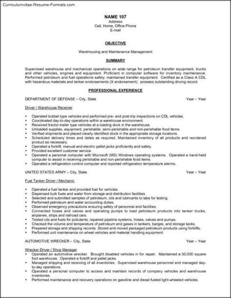free warehouse resume templates free sles exles