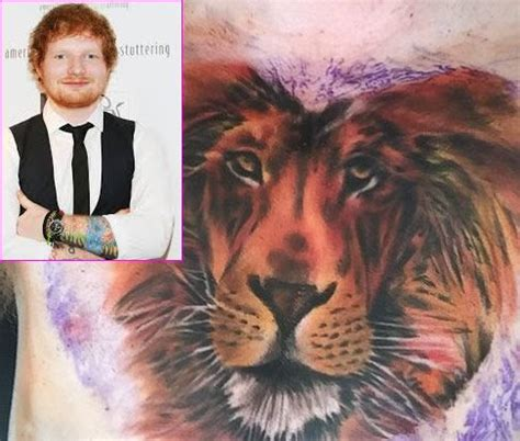 lion tattoo on chest ed sheeran 447 best pop star tattoos images on pinterest star