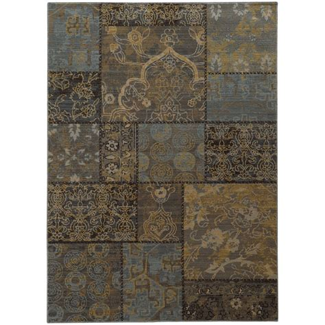 Patchwork Area Rug - 5x7 black blocks boxes cubes patchwork area rug sphinx